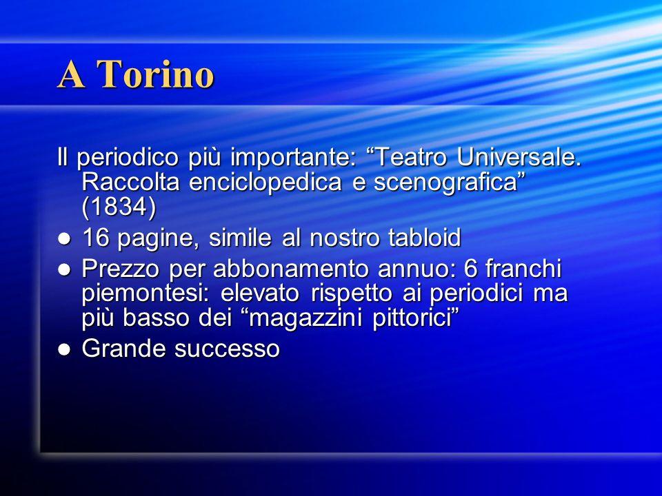 A Torino Il periodico più importante: Teatro Universale. Raccolta enciclopedica e scenografica (1834)