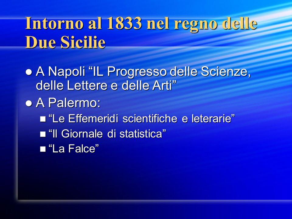 Intorno al 1833 nel regno delle Due Sicilie