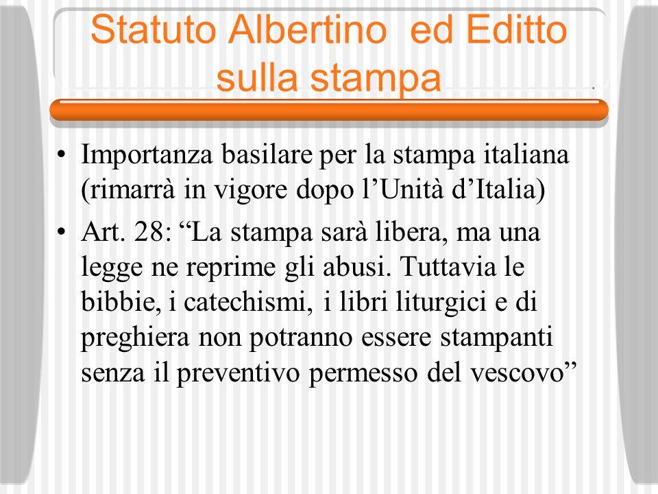 Statuto Albertino ed Editto sulla stampa
