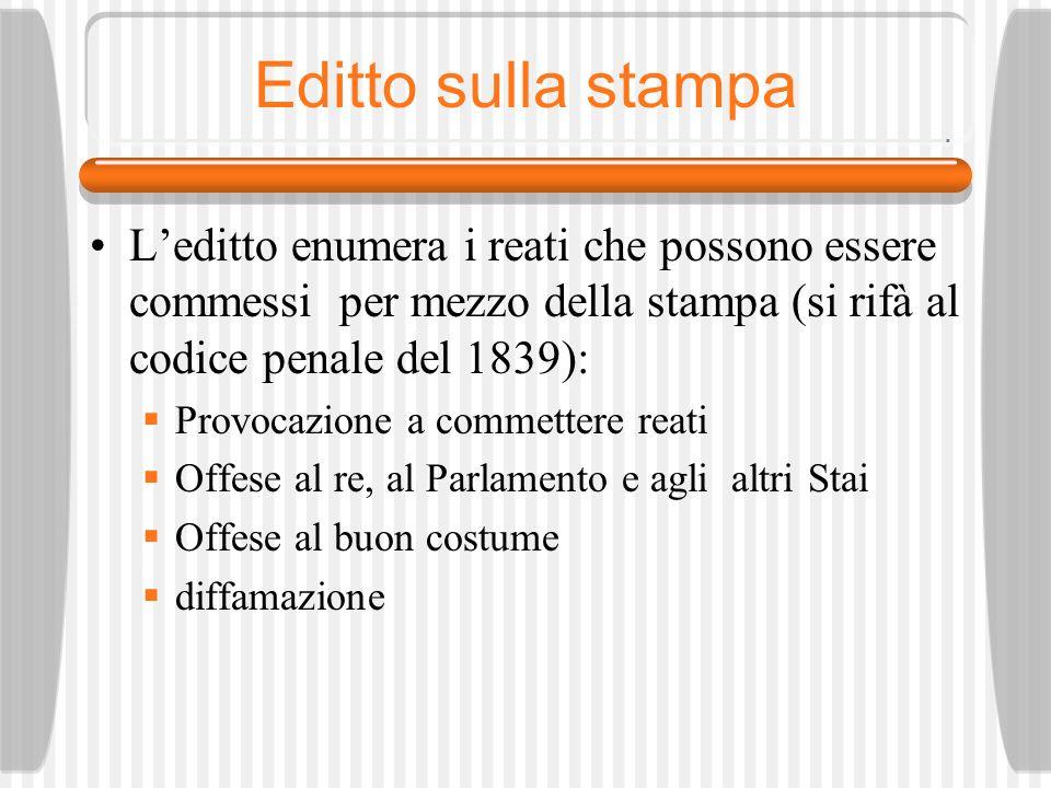 Editto sulla stampa L'editto enumera i reati che possono essere commessi per mezzo della stampa (si rifà al codice penale del 1839):