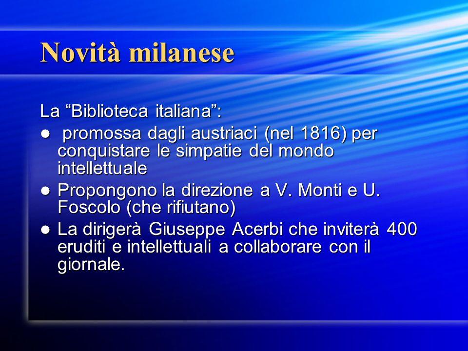 Novità milanese La Biblioteca italiana :