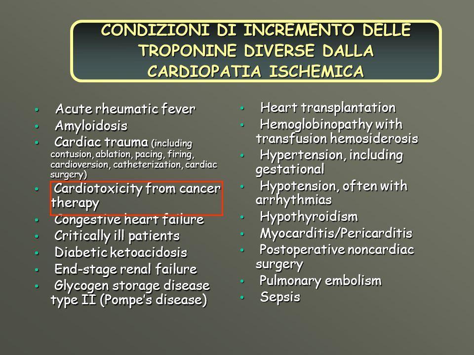 CONDIZIONI DI INCREMENTO DELLE TROPONINE DIVERSE DALLA CARDIOPATIA ISCHEMICA