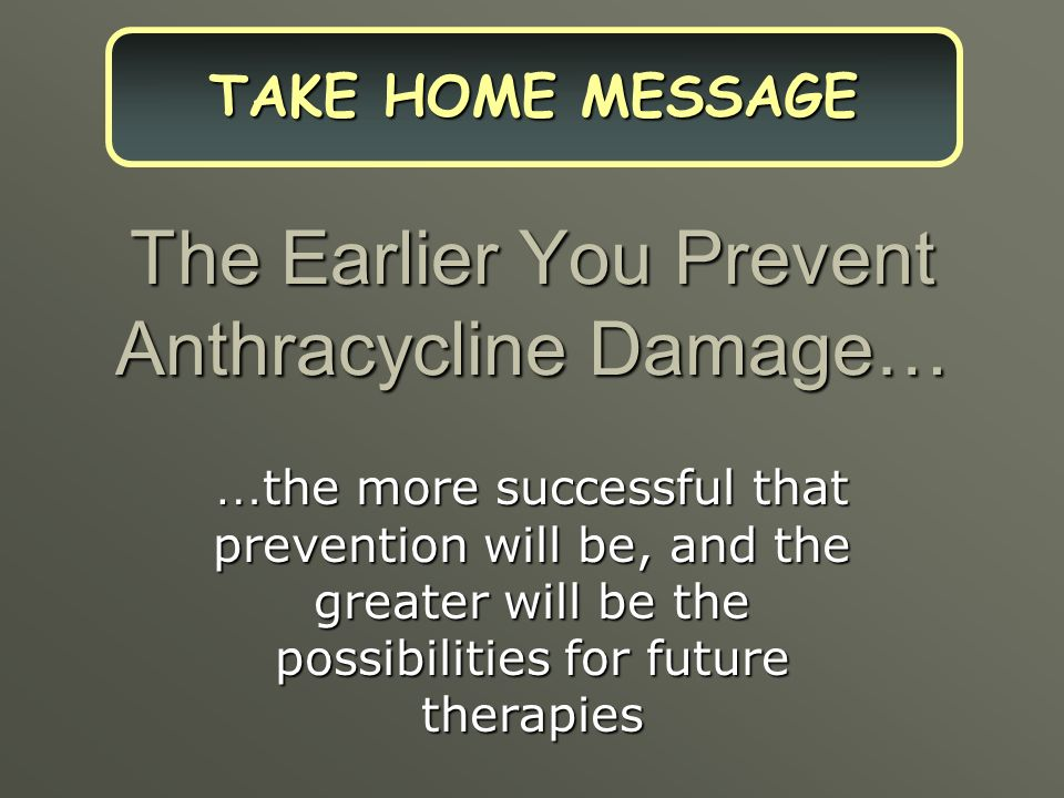 The Earlier You Prevent Anthracycline Damage…