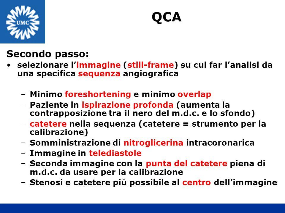 QCA Secondo passo: selezionare l'immagine (still-frame) su cui far l'analisi da una specifica sequenza angiografica.
