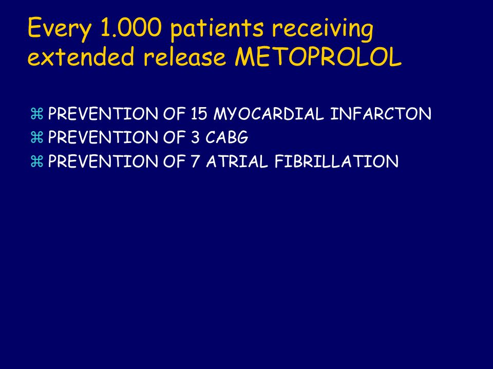 Every patients receiving extended release METOPROLOL
