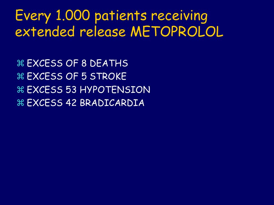 Every 1.000 patients receiving extended release METOPROLOL