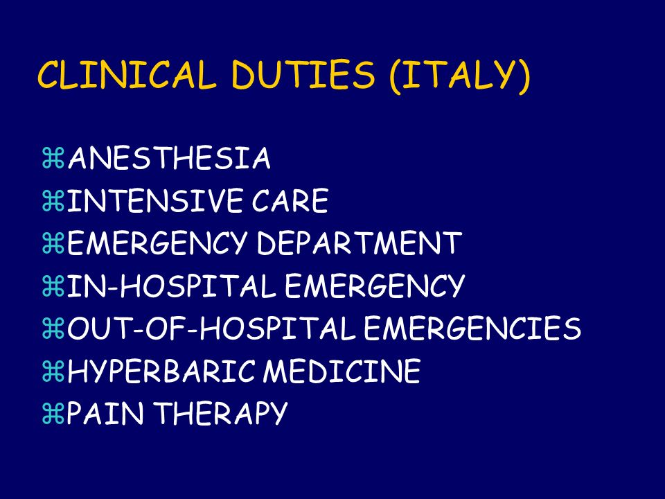 CLINICAL DUTIES (ITALY)