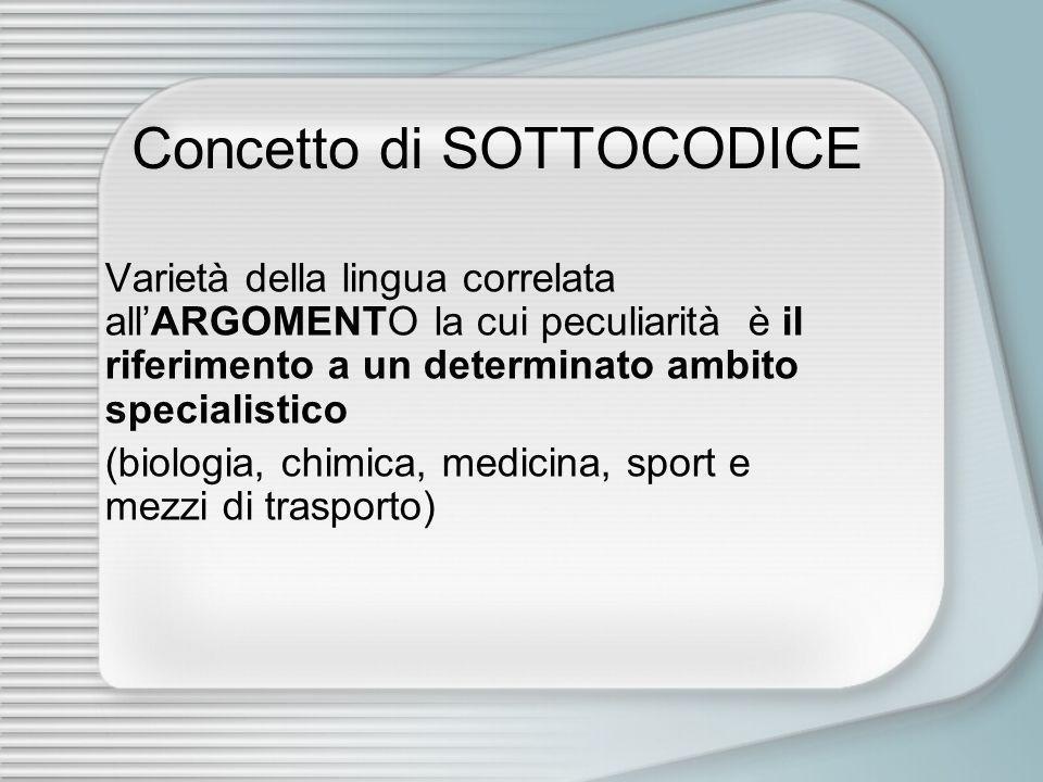 Concetto di SOTTOCODICE