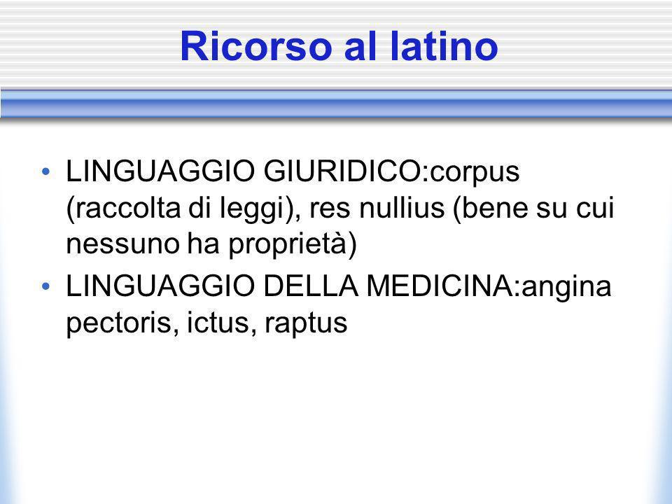 Ricorso al latinoLINGUAGGIO GIURIDICO:corpus (raccolta di leggi), res nullius (bene su cui nessuno ha proprietà)