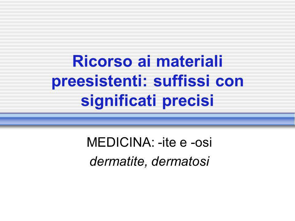 Ricorso ai materiali preesistenti: suffissi con significati precisi