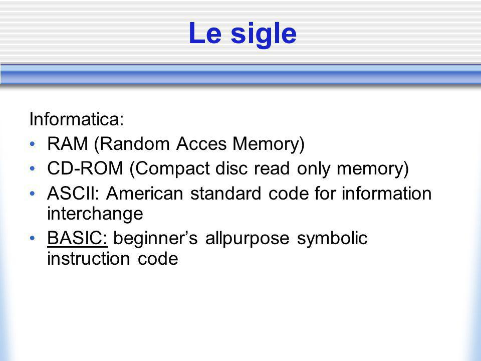Le sigle Informatica: RAM (Random Acces Memory)