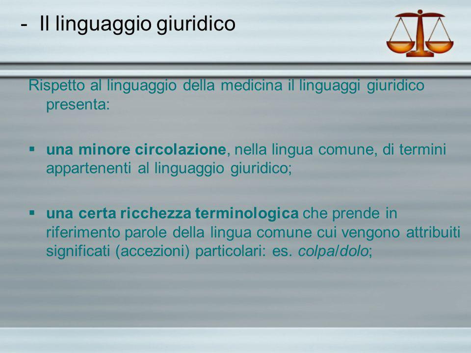 - Il linguaggio giuridico