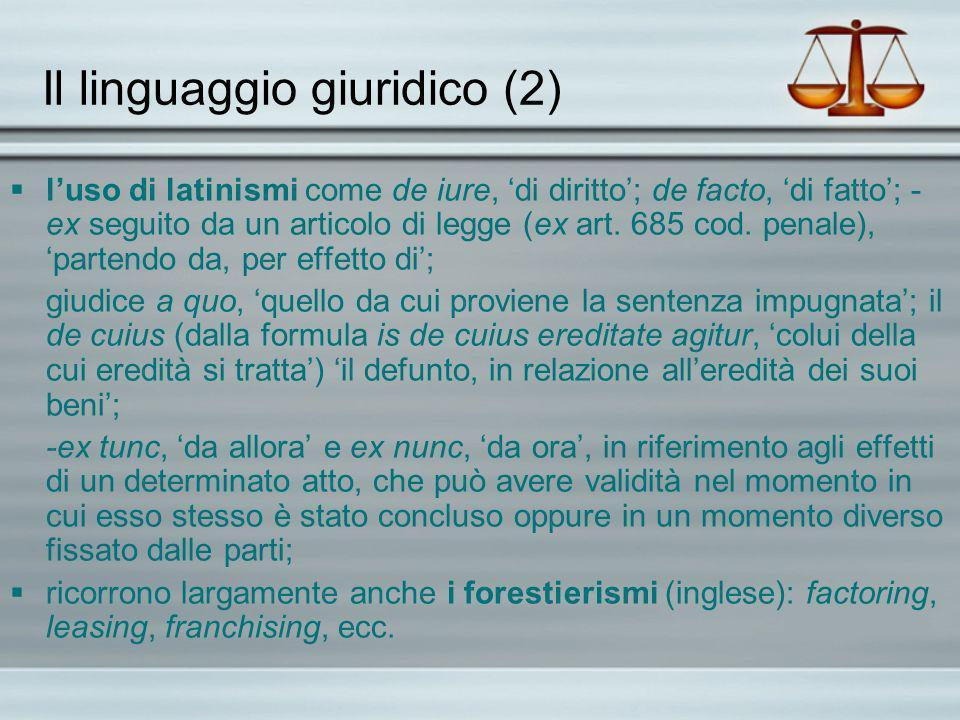 Il linguaggio giuridico (2)