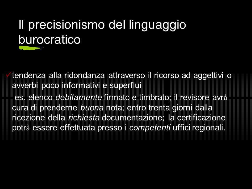 Il precisionismo del linguaggio burocratico