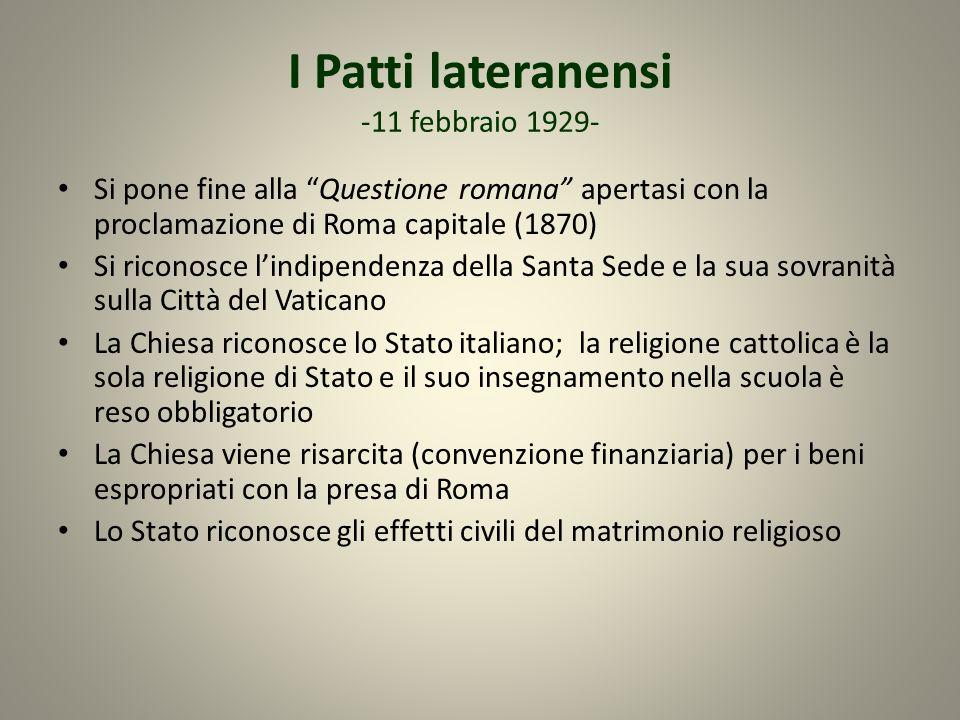 I Patti lateranensi -11 febbraio 1929-