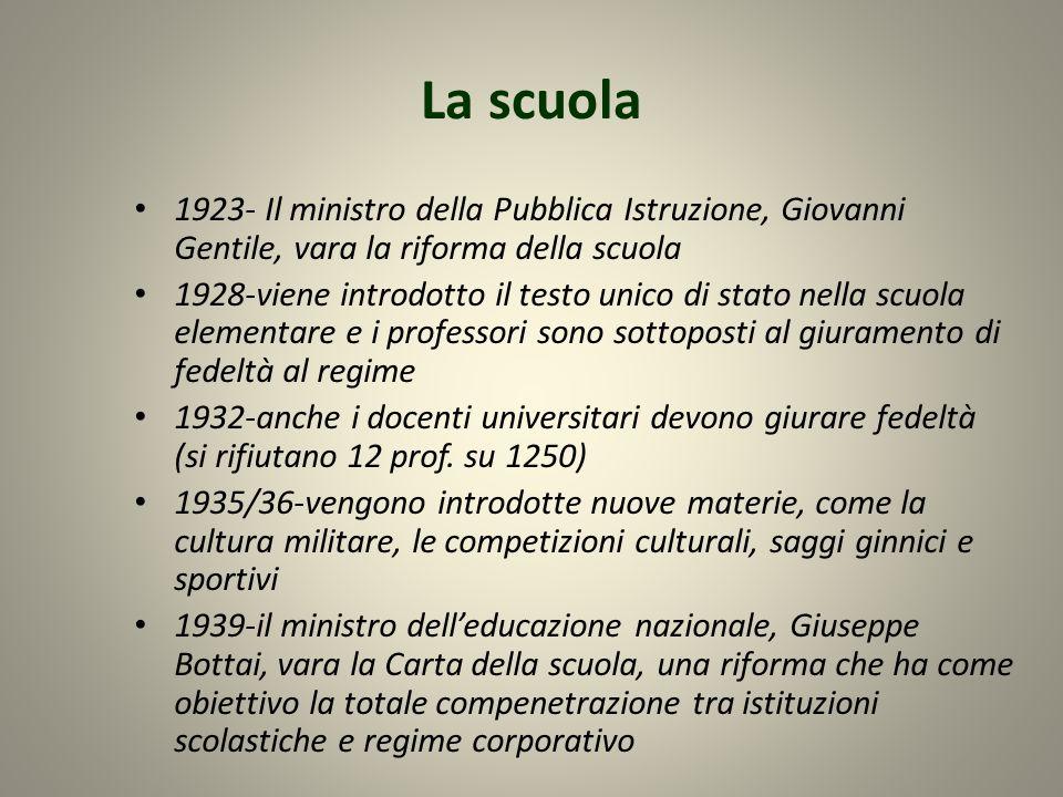 La scuola 1923- Il ministro della Pubblica Istruzione, Giovanni Gentile, vara la riforma della scuola.