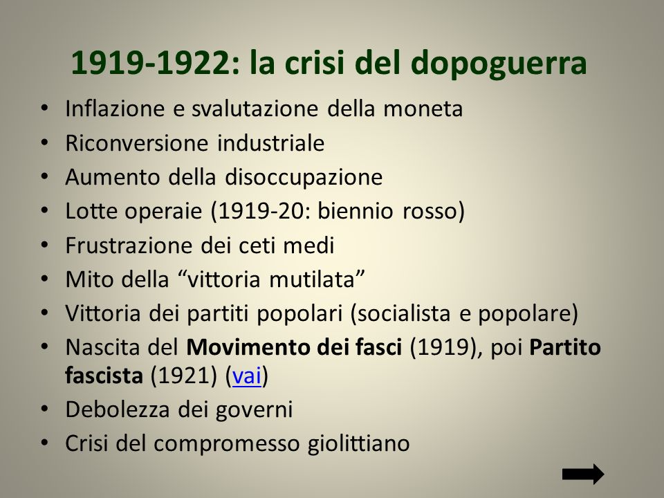 1919-1922: la crisi del dopoguerra
