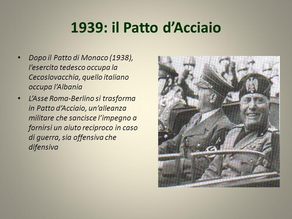 1939: il Patto d'AcciaioDopo il Patto di Monaco (1938), l'esercito tedesco occupa la Cecoslovacchia, quello italiano occupa l'Albania.