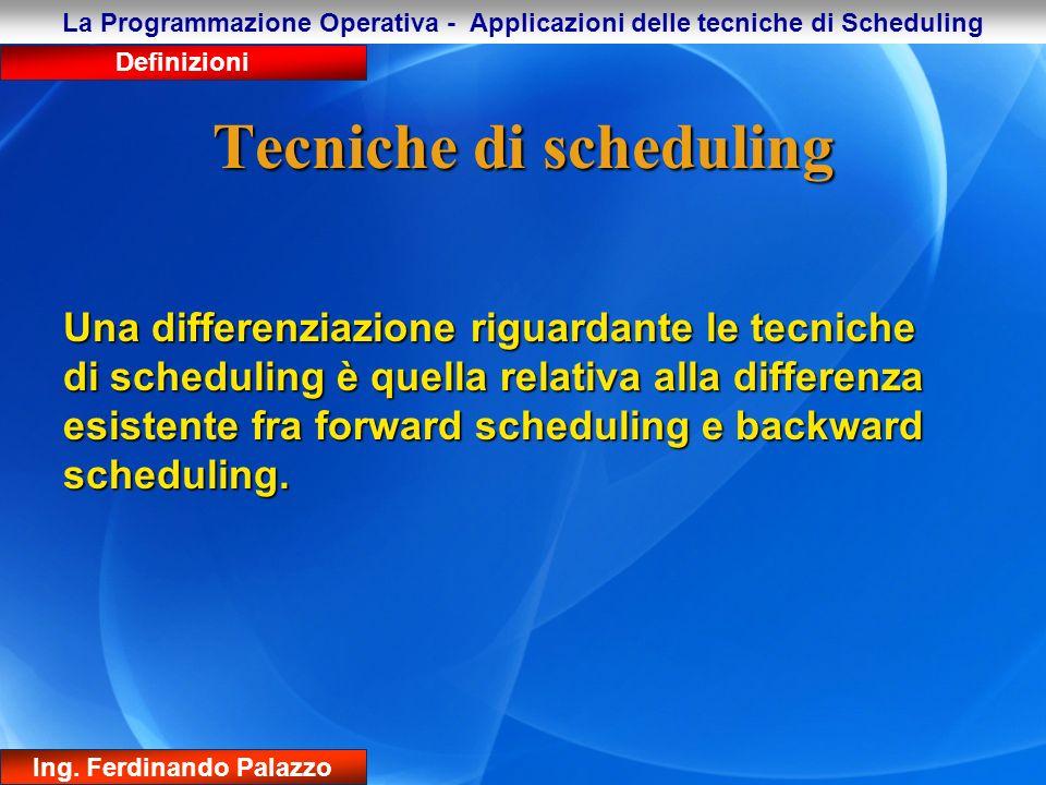 Tecniche di scheduling