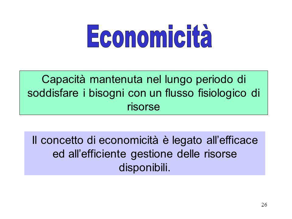 Economicità Capacità mantenuta nel lungo periodo di soddisfare i bisogni con un flusso fisiologico di risorse.