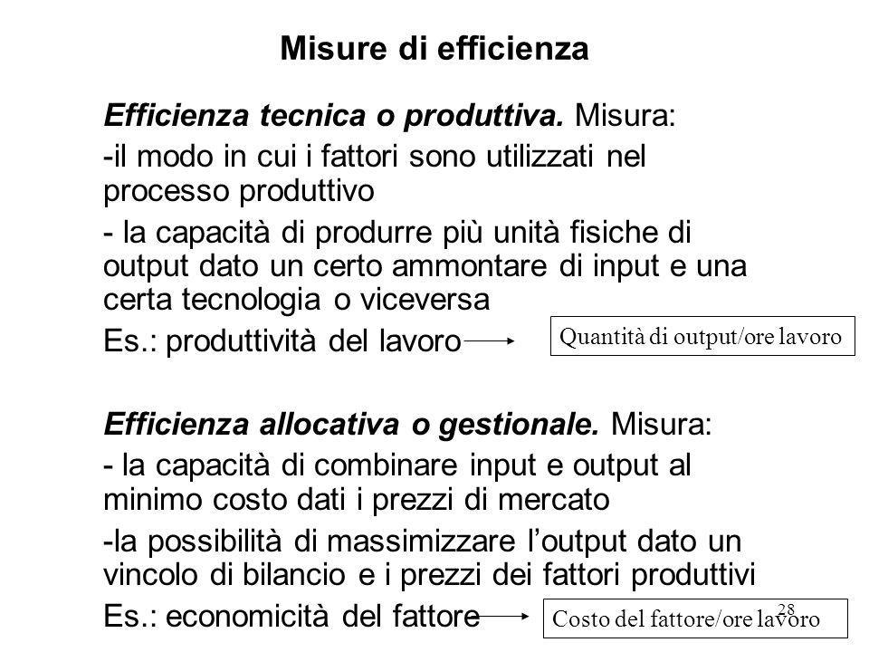 Misure di efficienza Efficienza tecnica o produttiva. Misura: