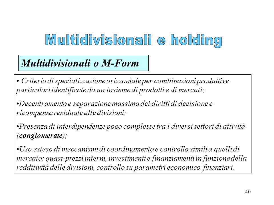 Multidivisionali e holding