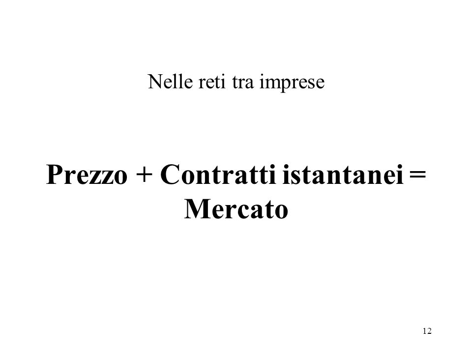 Prezzo + Contratti istantanei = Mercato