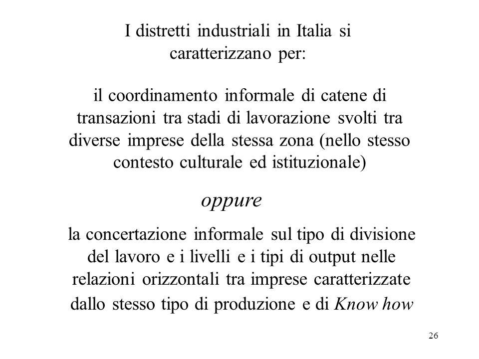I distretti industriali in Italia si caratterizzano per: