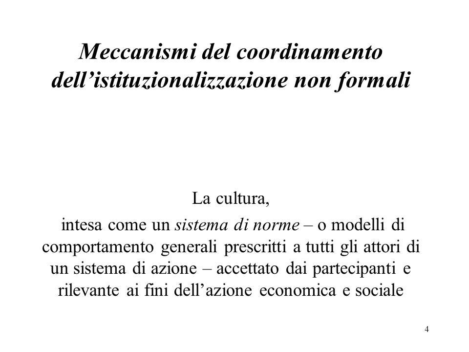 Meccanismi del coordinamento dell'istituzionalizzazione non formali