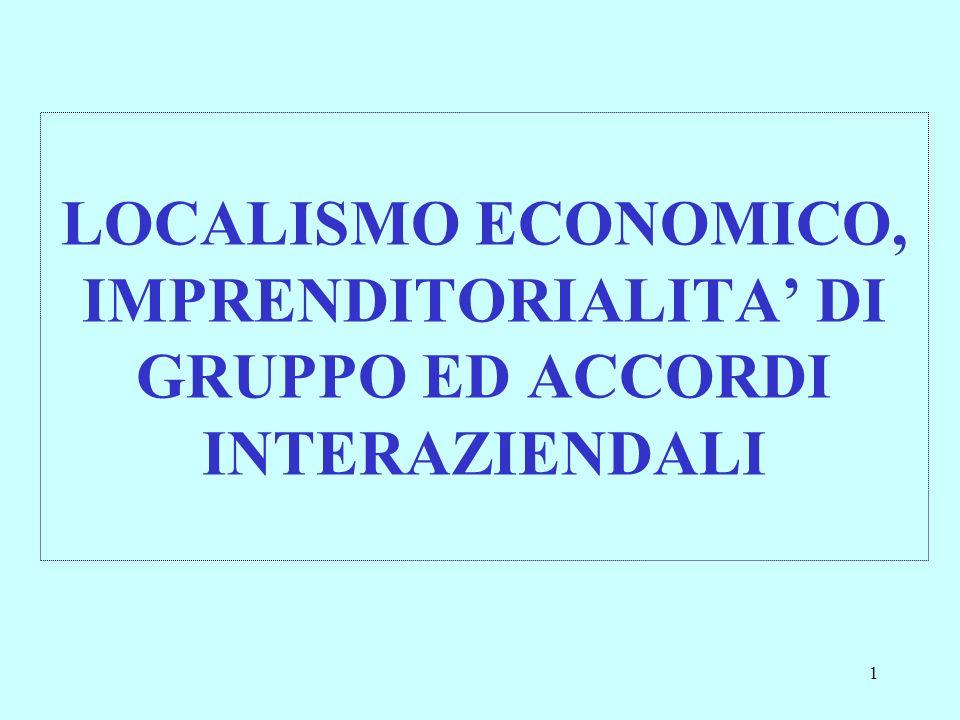 LOCALISMO ECONOMICO, IMPRENDITORIALITA' DI GRUPPO ED ACCORDI INTERAZIENDALI