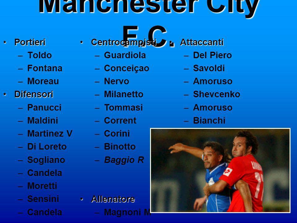 Manchester City F.C. Portieri Toldo Fontana Moreau Difensori Panucci