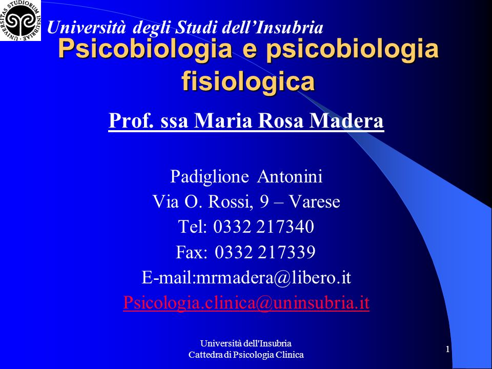 Psicobiologia e psicobiologia fisiologica