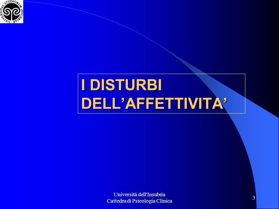 I DISTURBI DELL'AFFETTIVITA'