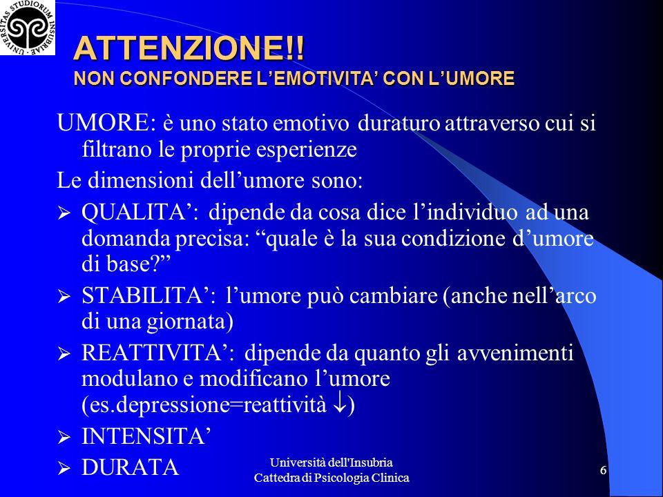 ATTENZIONE!! NON CONFONDERE L'EMOTIVITA' CON L'UMORE