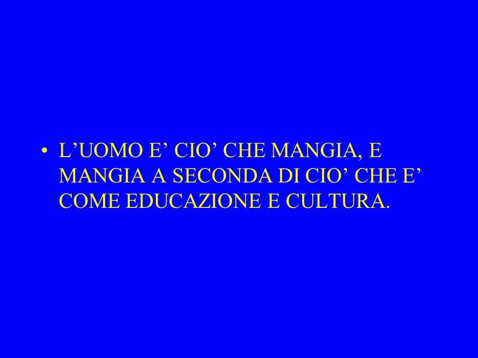 L'UOMO E' CIO' CHE MANGIA, E MANGIA A SECONDA DI CIO' CHE E' COME EDUCAZIONE E CULTURA.