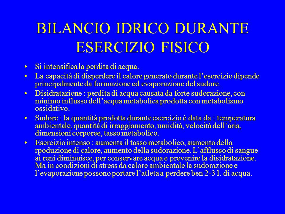 BILANCIO IDRICO DURANTE ESERCIZIO FISICO