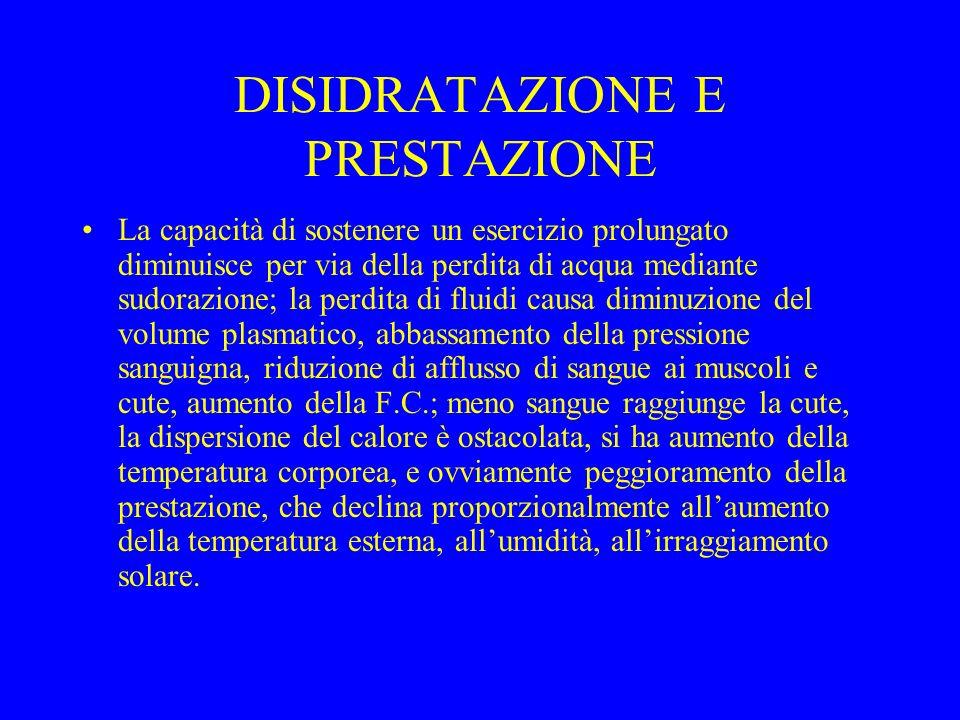 DISIDRATAZIONE E PRESTAZIONE