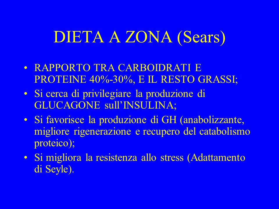 DIETA A ZONA (Sears) RAPPORTO TRA CARBOIDRATI E PROTEINE 40%-30%, E IL RESTO GRASSI;
