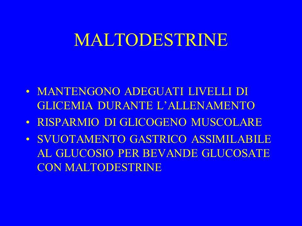 MALTODESTRINE MANTENGONO ADEGUATI LIVELLI DI GLICEMIA DURANTE L'ALLENAMENTO. RISPARMIO DI GLICOGENO MUSCOLARE.