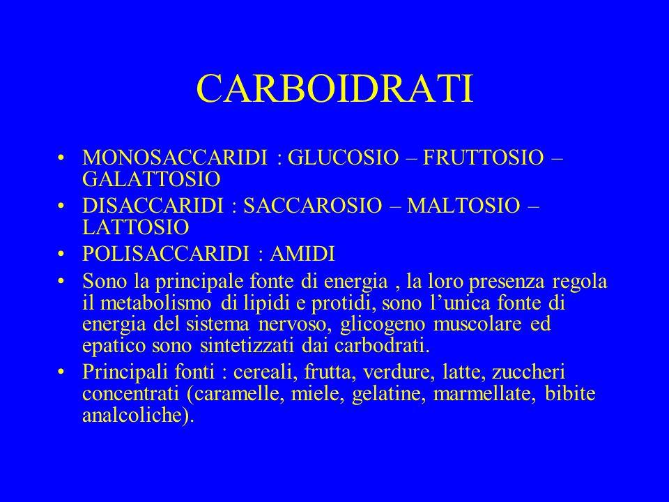 CARBOIDRATI MONOSACCARIDI : GLUCOSIO – FRUTTOSIO – GALATTOSIO