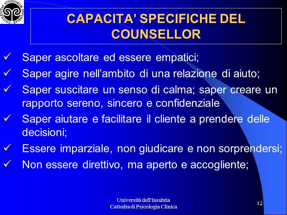 CAPACITA' SPECIFICHE DEL COUNSELLOR