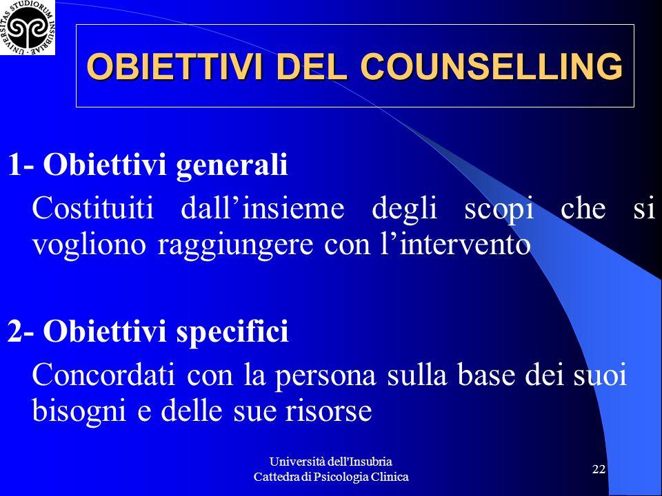 OBIETTIVI DEL COUNSELLING