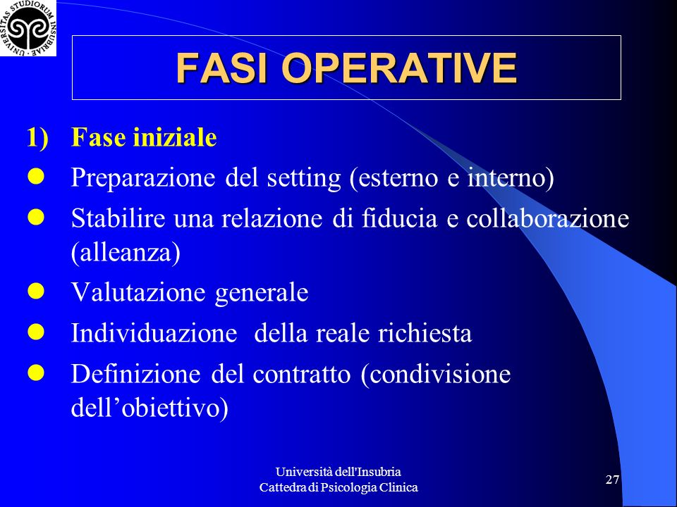Università dell Insubria Cattedra di Psicologia Clinica