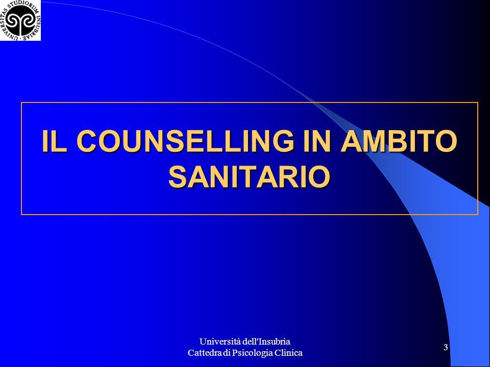 IL COUNSELLING IN AMBITO SANITARIO