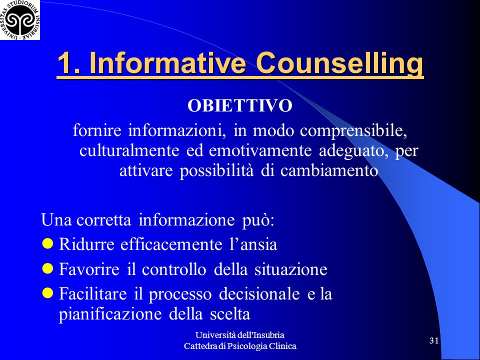 1. Informative Counselling