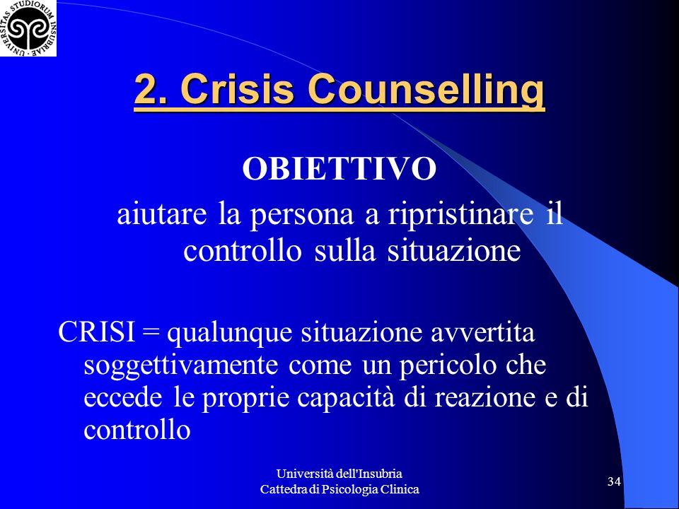 2. Crisis Counselling OBIETTIVO