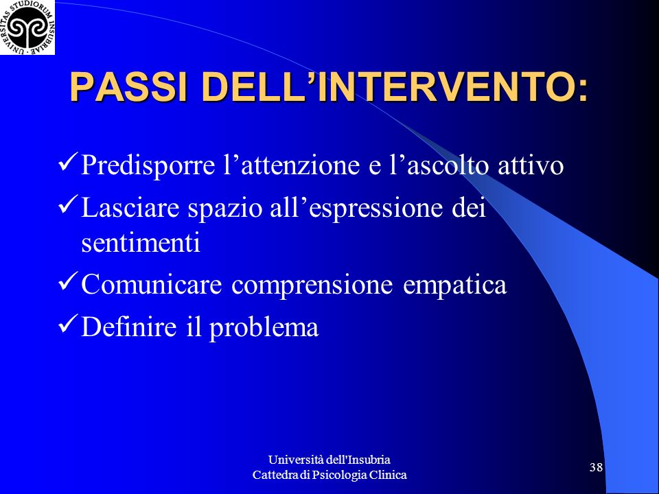 PASSI DELL'INTERVENTO: