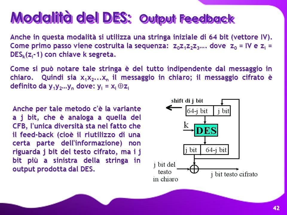 Modalità del DES: Output Feedback