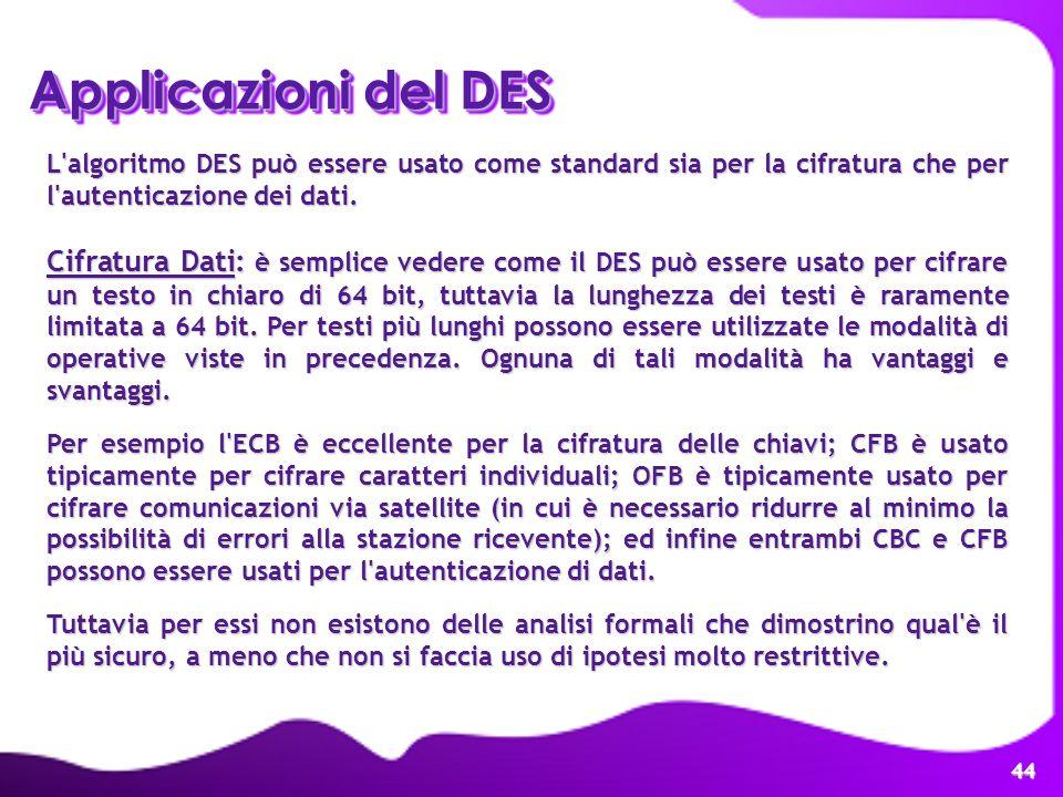 Applicazioni del DES L algoritmo DES può essere usato come standard sia per la cifratura che per l autenticazione dei dati.