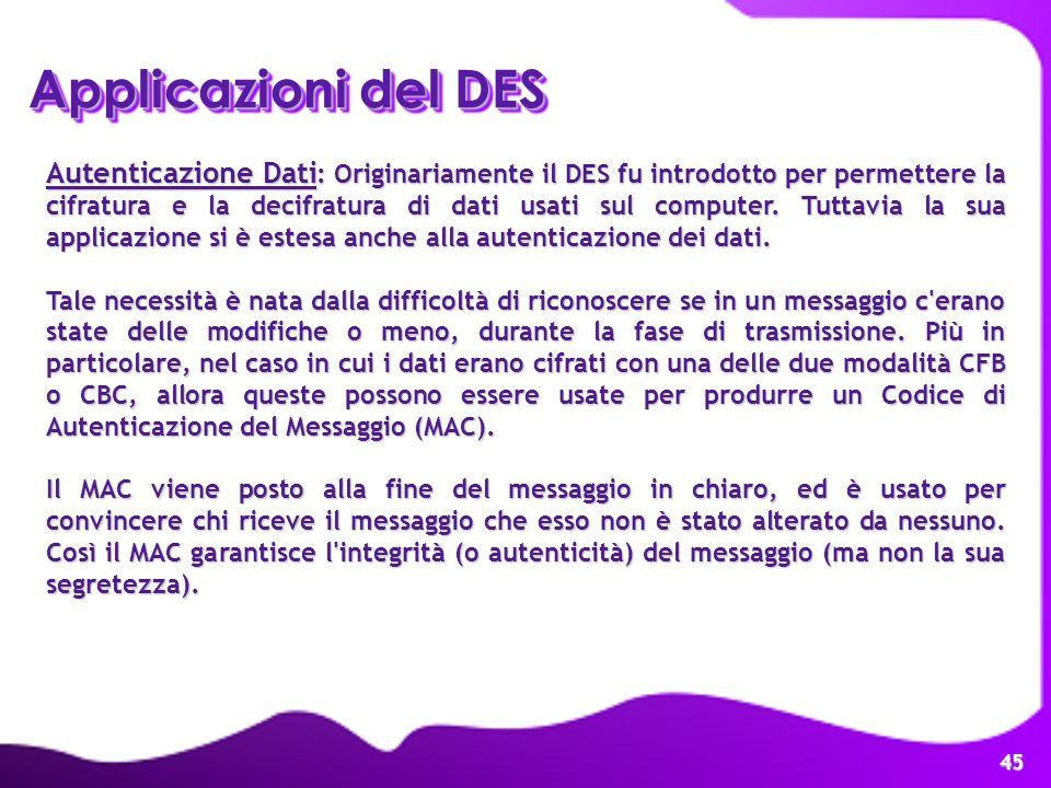 Applicazioni del DES
